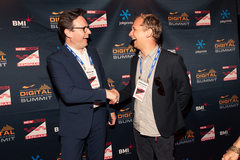 B&O Play Corporate Vice President Henrik Lorensen and Volume CCO Johannes Andersson celebrate the new partnership between B&O Play and Mew.