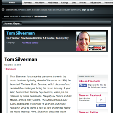 Ahead Of The Curve: All Access Music Group Interviews Tom Silverman