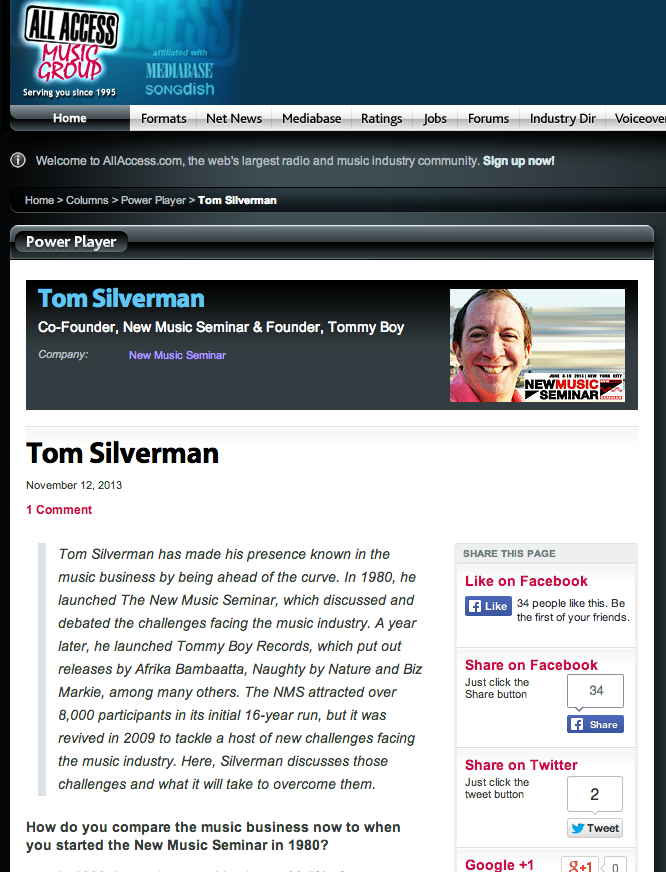 tom silverman all access music group interview power player
